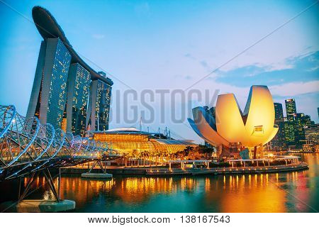 SINGAPORE - NOVEMBER 6: Overview of the marina bay with the Marina Bay Sands on November 6 2015 in Singapore.