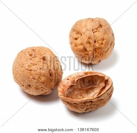Ripe walnuts isolated on the white background