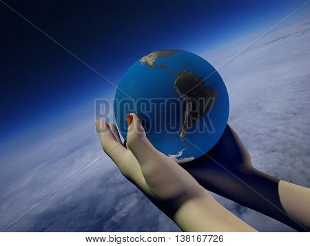 Model of the globe in his hand.,3d render