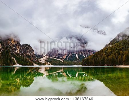Braies lake in the Dolomites in Italy, Europe