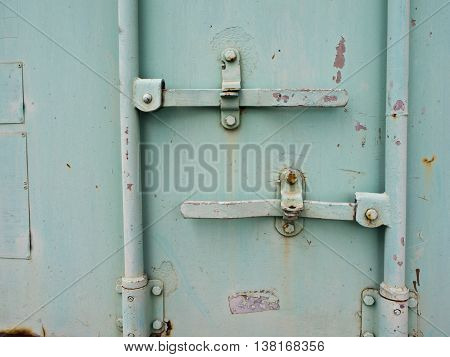 Close up to Containner door and dowel lock