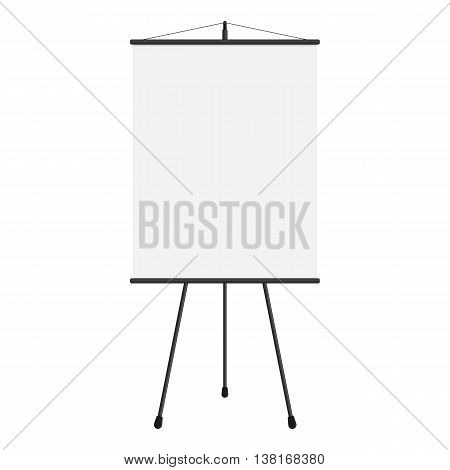 Vector illustration of blank projection screen. Template of presentation screen in flat style. Blank whiteboard, tripod projector for seminar.