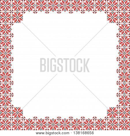 Frame black red patterns on canvas abstract poppies embroidery