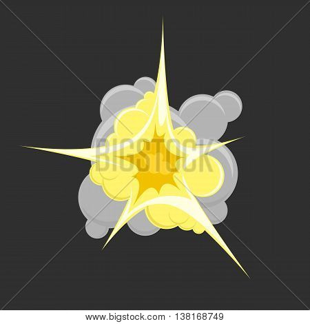 Vector illustration of comic book explosion. Explosion boom, gray cloud, smoke and explode. Bomb explosion. Explosion Icon in flat style.
