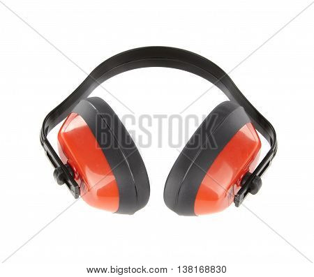 Protective red earmuffs isolated on white background