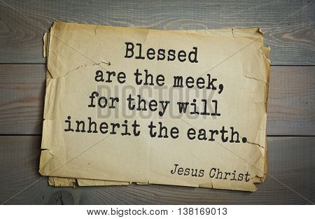 Jesus quote on old paper background. Blessed are the meek, for they will inherit the earth.