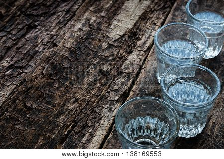Cold Vodka In A Glass On A Wooden Background