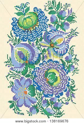 Petrikov painting, embroidery, cross, ornament, ukraine, national pattern, floral motif, beige, blue, purple, green