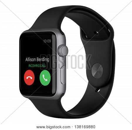 Varna Bulgaria - October 16 2015: Side view of Apple Watch Sport 42mm Space Gray Aluminum Case with Black Sport Band with incoming phone call on the display. Isolated on white background.