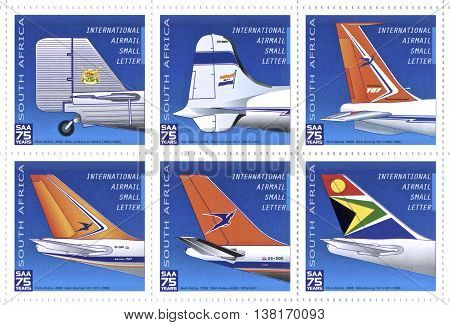SOUTH AFRICA - CIRCA 1934 to 2009: stamp printed by South Africa shows a collection SAA Airways plane tails designs circa 1934 to 2009. SAA 75 years for post transport and different designs.