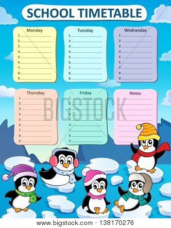 Weekly school timetable composition 2 - eps10 vector illustration.