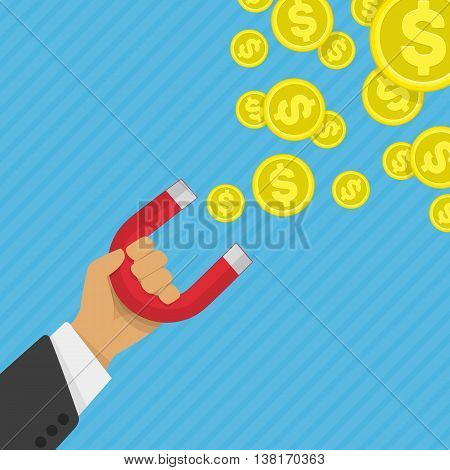 Vector illustration of money business success dollar magnet. Attracting investments concept. Hand of Businessman with magnet and Gold coin and money. illustration in flat design. Work motivation.