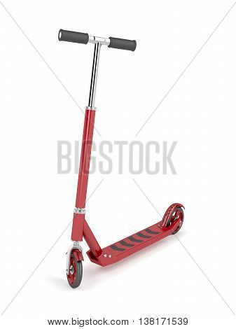 Red kick scooter on white background, 3D illustration