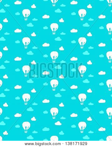 Seamless texture with clouds and air balloon in the form of an elephant. Childish background.