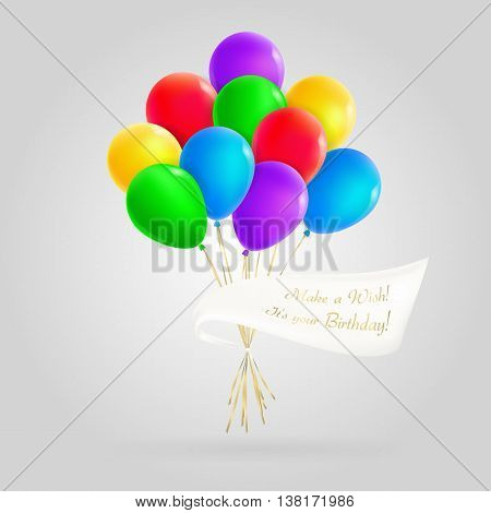 Realistic colorful bunch of balloons with a banner with space for messages. For Party and Celebrations. Isolated from the background.