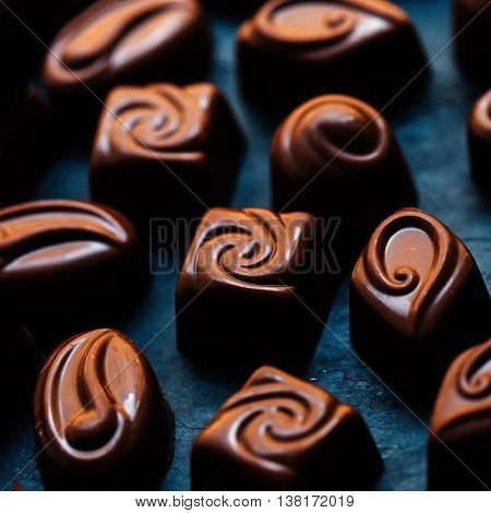 Chocolate Candy Sweet in high resolution. Dark chocolate stack chips and powder. Set of Chocolate candies collection.