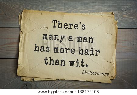 English writer and dramatist William Shakespeare quote. There's many a man has more hair than wit.