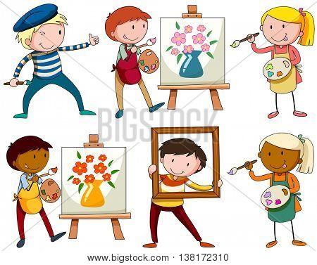Set of people doing artworks illustration