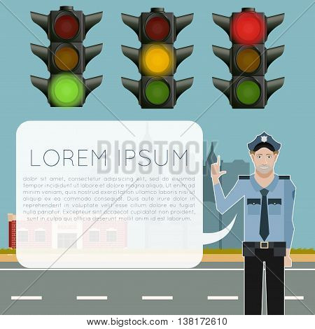 Vector image of the Traffic light signals banner