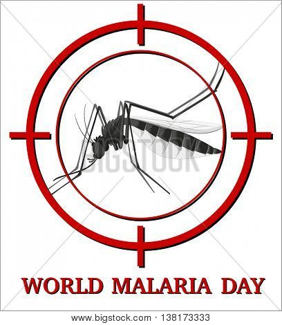 World malaria day sign with mosquito in focus illustration
