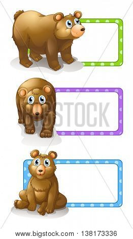 Square labels with grizzly bears illustration