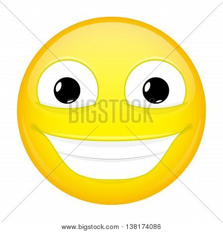Broadly smiling emoji. Good emotion. Happy emoticon. Vector illustration smile icon.