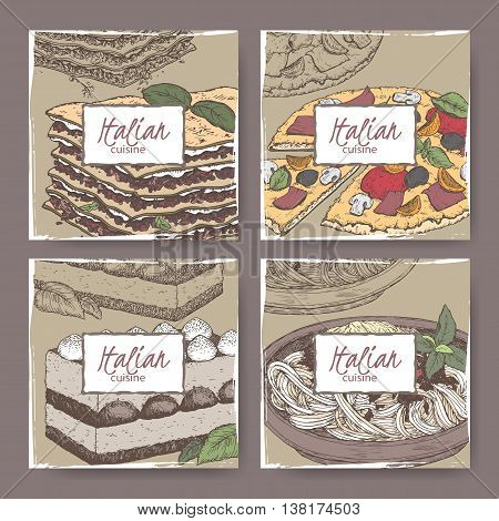 Set of four Italian cuisine banner templates. Includes hand drawn color sketch of pizza, lasagna, tiramisu, spaghetti. Great for restaurants, cafes, recipe and travel books.