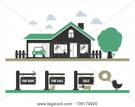 Sweet house for sale or rent illustration
