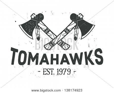 American indian emblem, label, badge, logo. Crossed tomahawks design