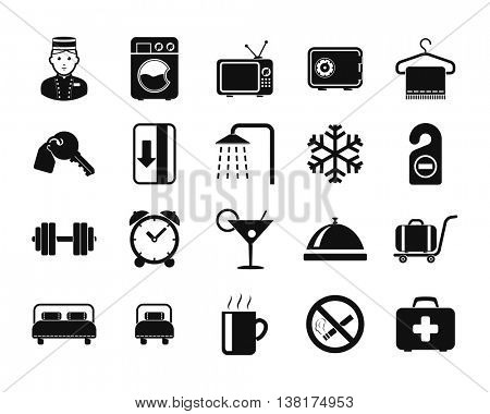 Hotel icons set // Black & White
