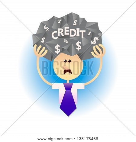 Сoncept of economic problem such as credits loan debt. Severe financial situation. Money problems a crisis. Flat style vector illustration.