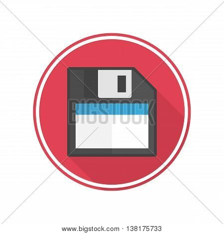 Disc icon with long shadow. Save flat icon.