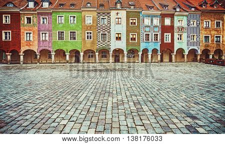 Colorful Houses In Poznan Old Market Square.