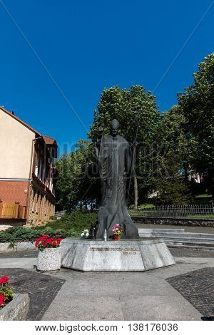 Mount St. Anna, Poland - July 7, 2016: Statue of Pope John Paul II in the Mount St. Anna in Poland.
