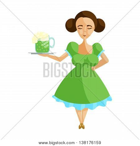 Girl in german traditional dress with mug of beer on a tray icon in cartoon style on a white background