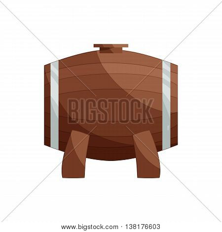 Wooden barrel on a legs icon in cartoon style on a white background