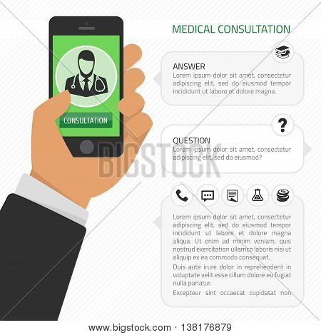 Vector illustration of concept of form design on hand holding mobile phone with medical assistance and doctor consultation online featuring abstract physician icon, place for text. Modern flat style.