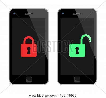 Black Smart Phone With Padlock. Vector Illustration Of Locked And Unlocked Black Smart Phones. No Transparency. Global Colors Used.