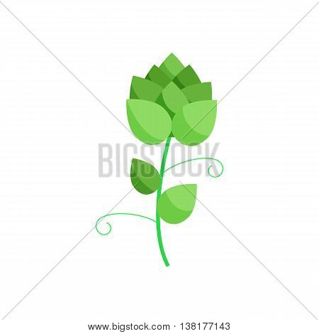 Branch of hops icon in cartoon style on a white background