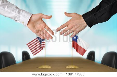 United States and Chile diplomats shaking hands to agree deal, part 3D rendering