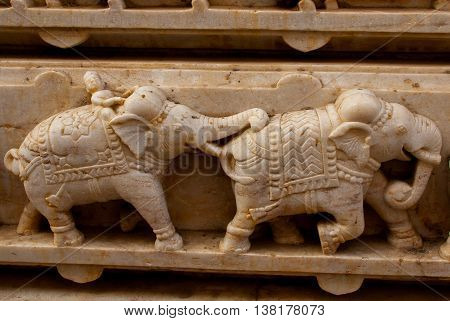 Temple. Udaipur, India. Fragments Of Walls.the Images Of Elephants.