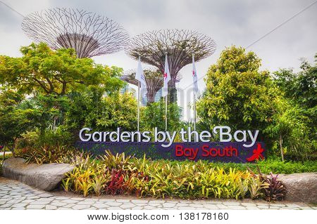 SINGAPORE - NOVEMBER 4: Overview of Gardens by the Bay on November 4 2015 in Singapore.