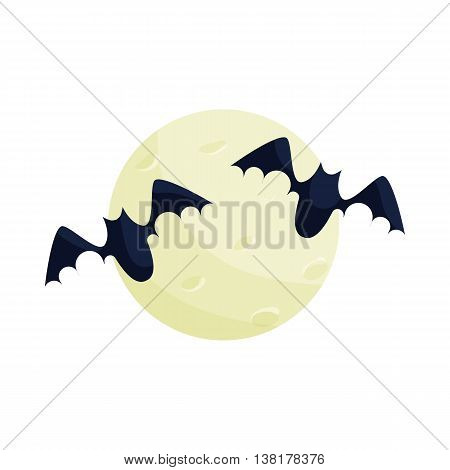 Full moon and bats icon in cartoon style on a white background