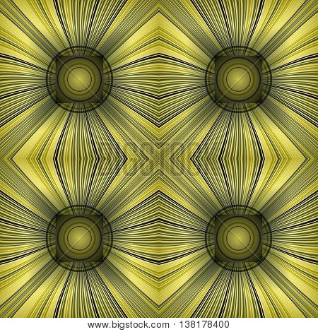 3D illustration. Seamless pattern with radial rays and concentric circles. The three-dimensional luminous psychedelic space. Regular pattern.