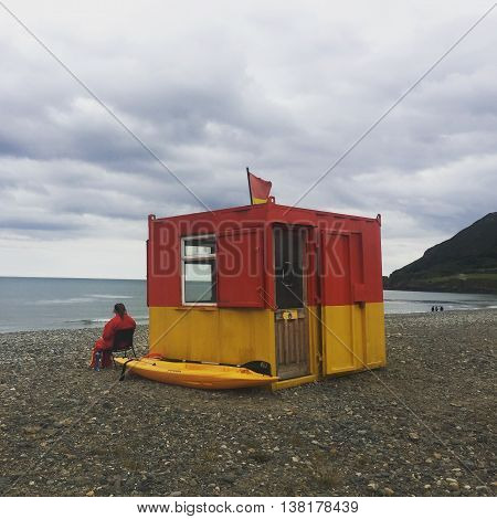 A lifeguard hut at a beach in Ireland
