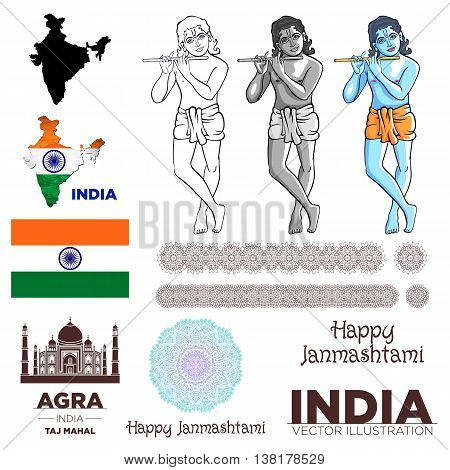 india flag Krishna taj mahal map mandala art vector