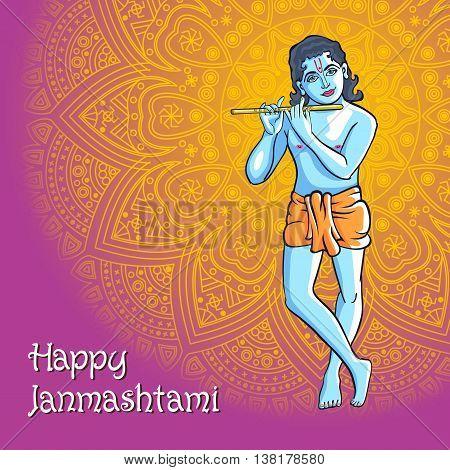 Hindu Young God Lord Krishna. Happy Janmashtami Vector