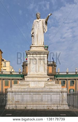 NAPLES ITALY - JUNE 25: Piazza Dante in Naples on JUNE 25 2014. Dante Alighieri Monument and Convitto Nazionale Vittorio Emanuele in Napoli Italy.