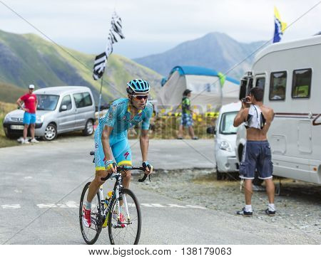 Col de la Croix de Fer France - 25 July 2015:The Ukrainian cyclist Andriy Grivko of Team Astana climbing to the Col de la Croix de Fer in Alps during the stage 20 of Le Tour de France 2015.