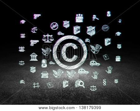 Law concept: Glowing Copyright icon in grunge dark room with Dirty Floor, black background with  Hand Drawn Law Icons